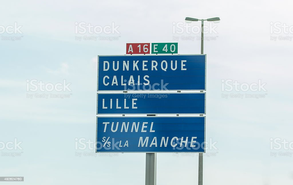 Road Sign For Calais, France stock photo