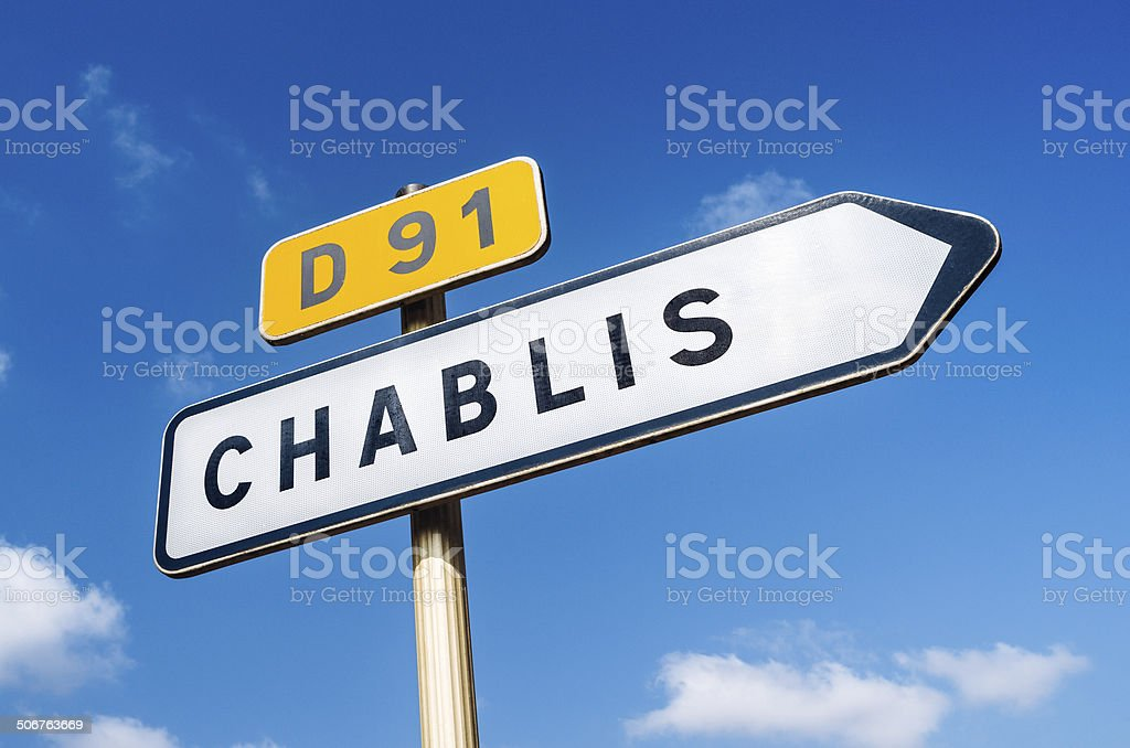 Road sign for Chablis in France stock photo