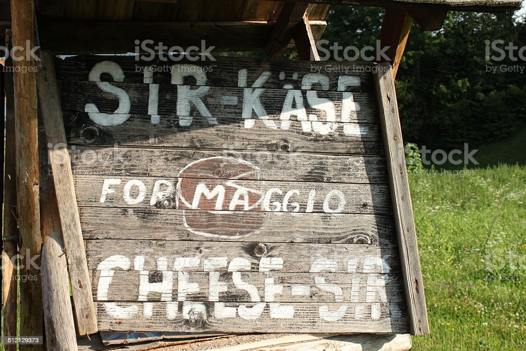 Road sign for cheese sale royalty-free stock photo