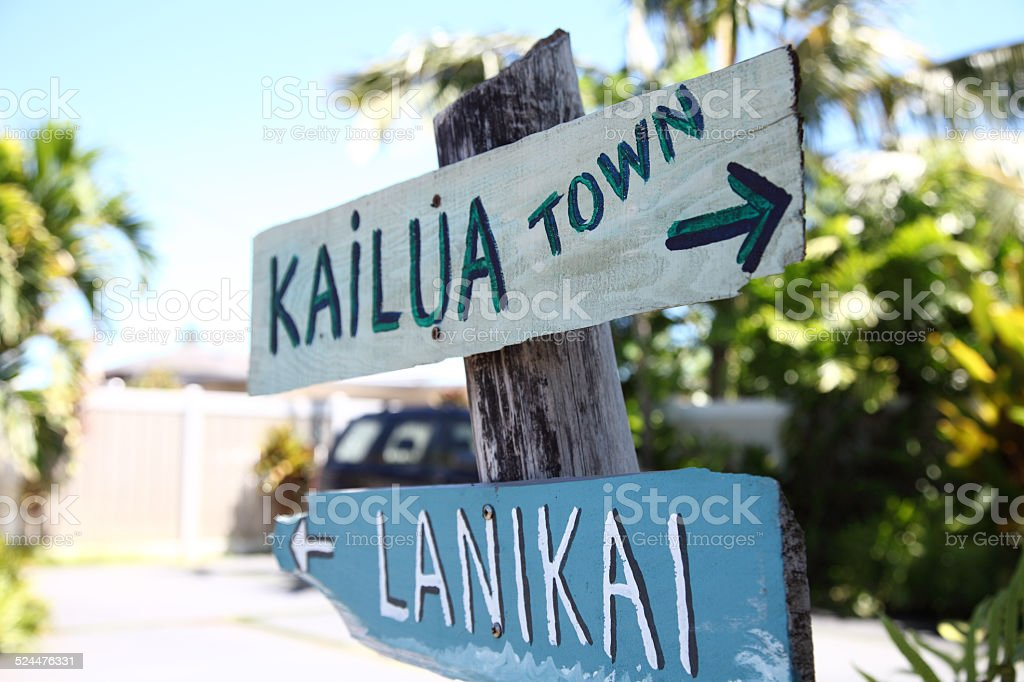 Road Sign for Kailua & Lanikai stock photo