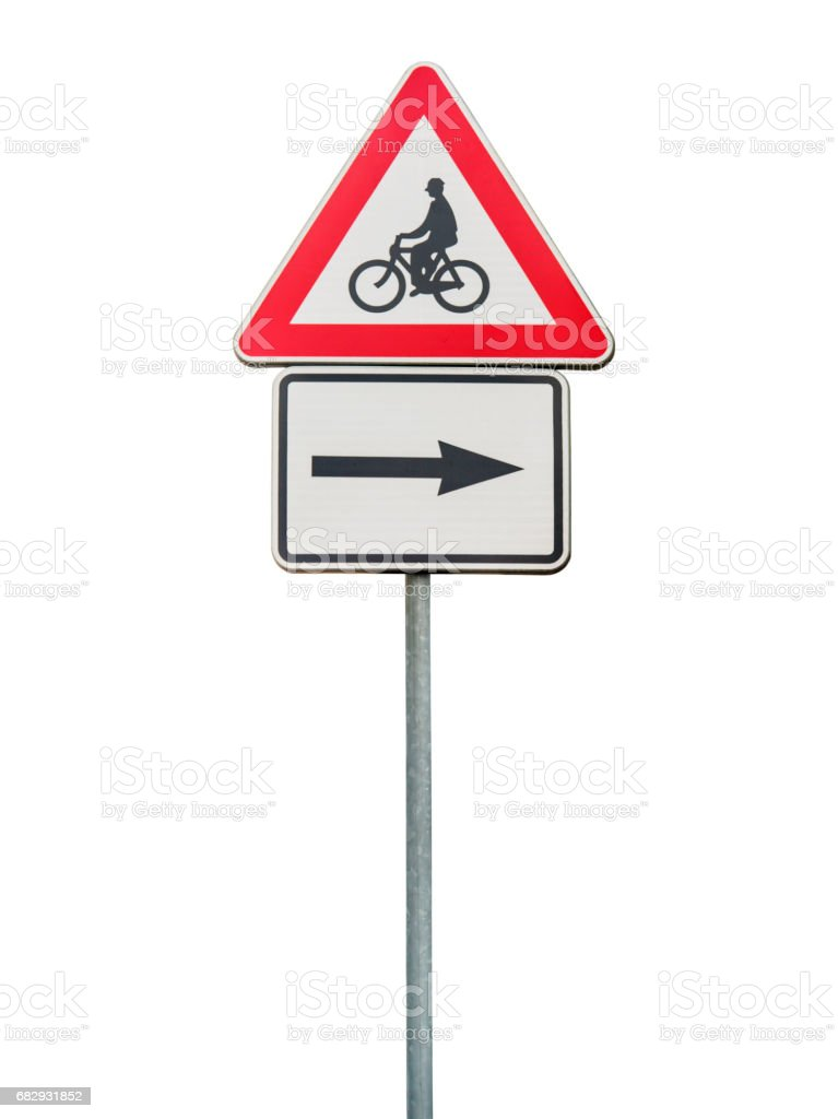 Road sign for right arow and red cycling sign stock photo