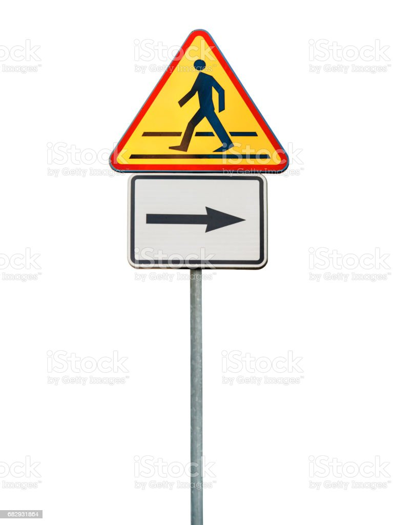Road sign for right arow and red pedestrian sign isolated on rod stock photo