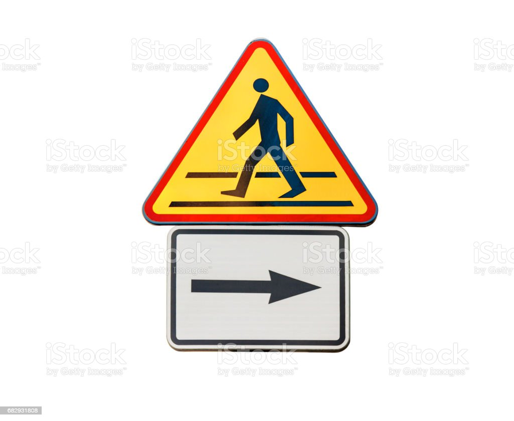 Road sign for right arow and red pedestrian sign isolated stock photo