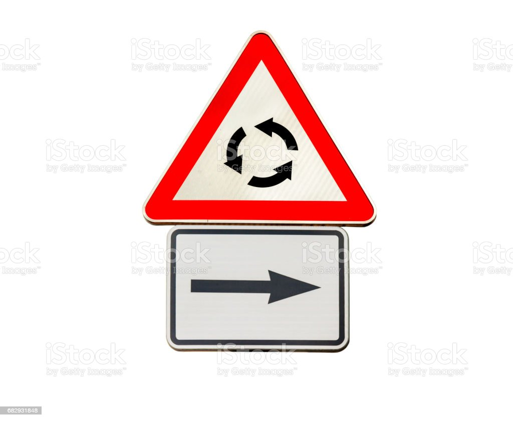 Road sign for right arow and Red roundabout sign stock photo