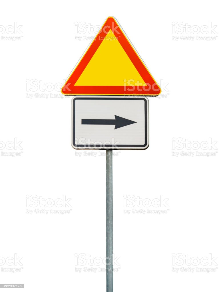 Road sign for right arow and red triangle sign isolated on rod stock photo