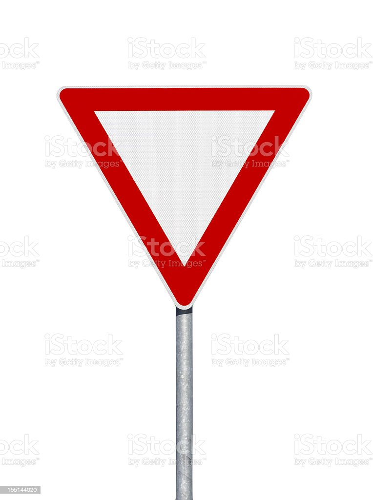 Road sign. Give way. Isolated on white stock photo