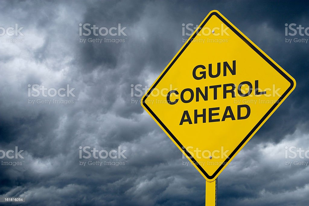 Road Sign - Gun Control stock photo