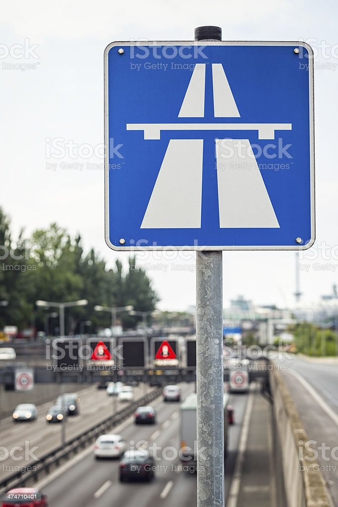 Road sign - highway/Autobahn in Germany royalty-free stock photo