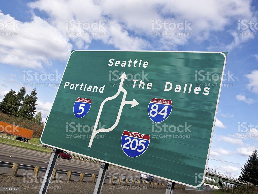 Road Sign I-5 diagram I-205 I-84 Portland Seattle The Dalles stock photo