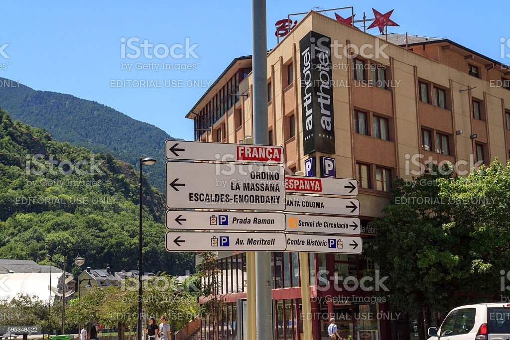 Road sign in between France and Spain, Andorra stock photo