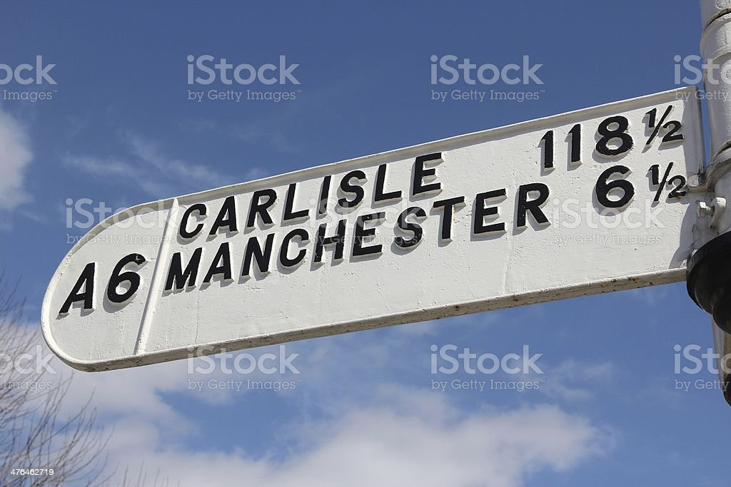 Road sign in England stock photo