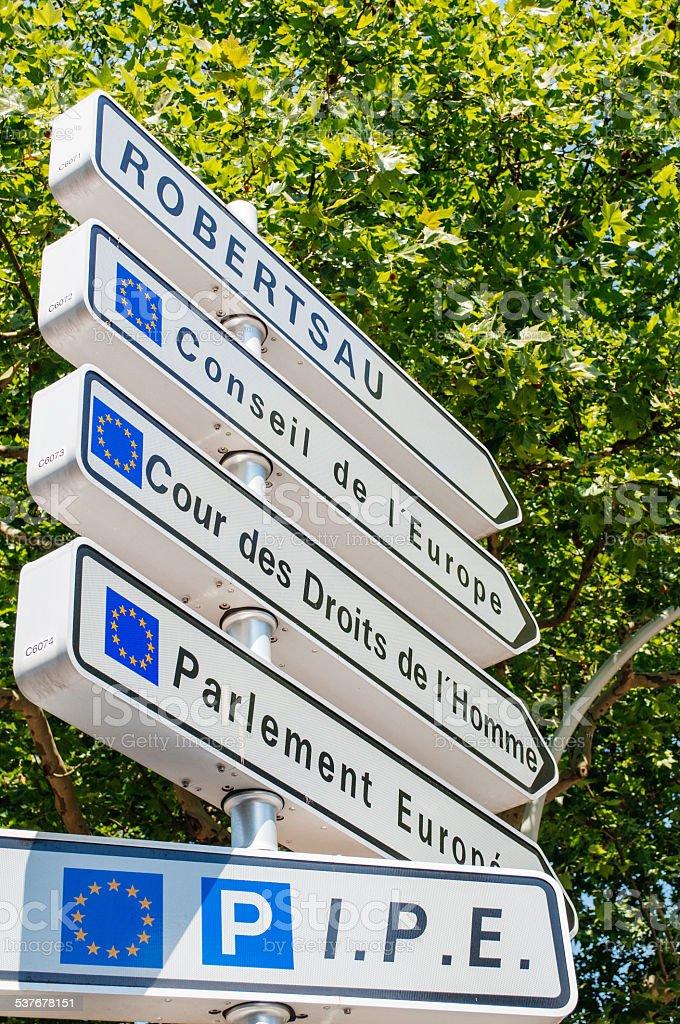 Road sign in European Capital of Strasbourg stock photo