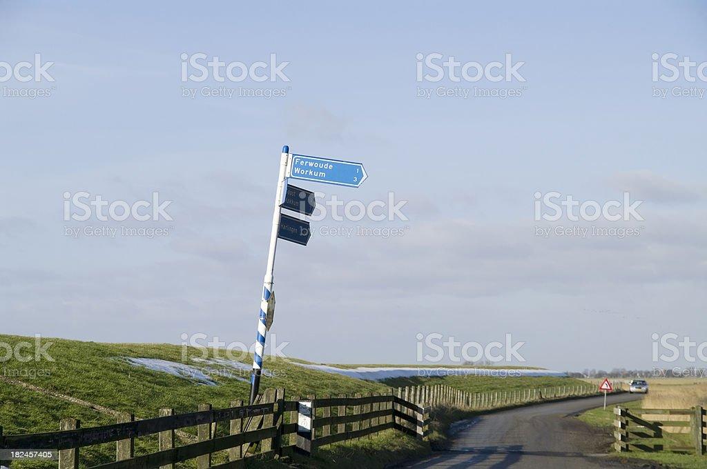 Road Sign in Frisian Polder royalty-free stock photo