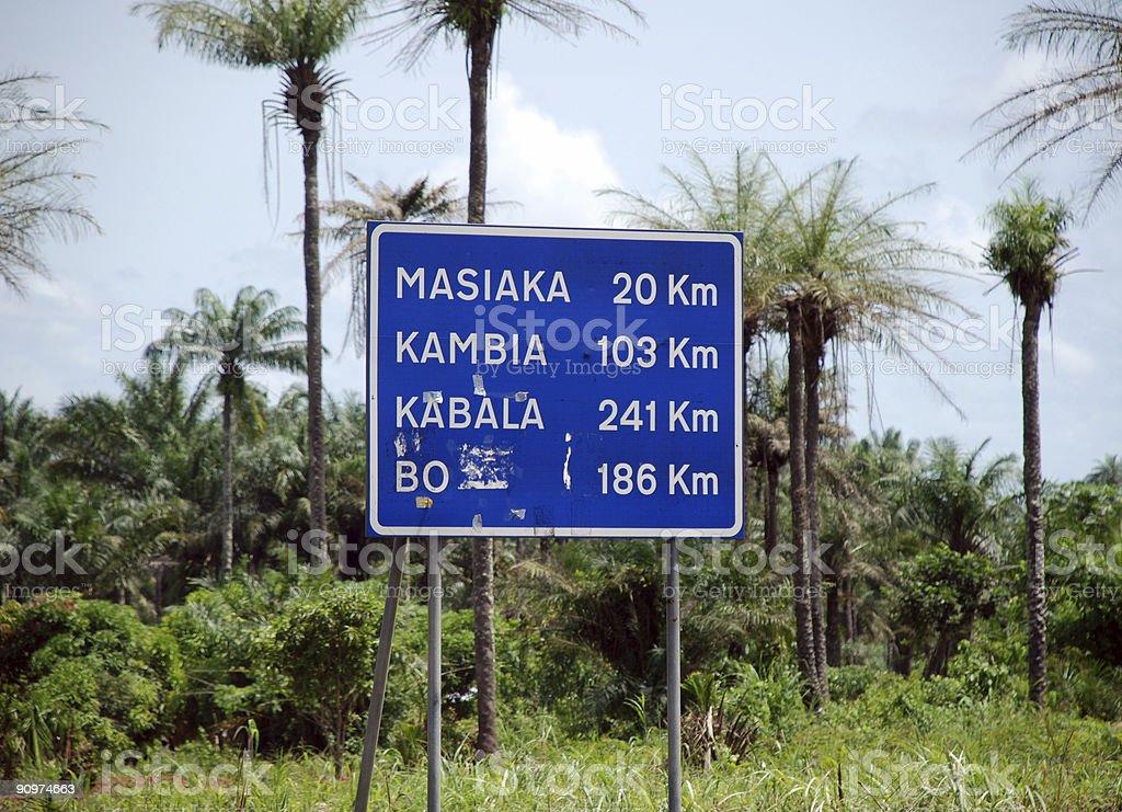 Road Sign in Sierra Leone stock photo