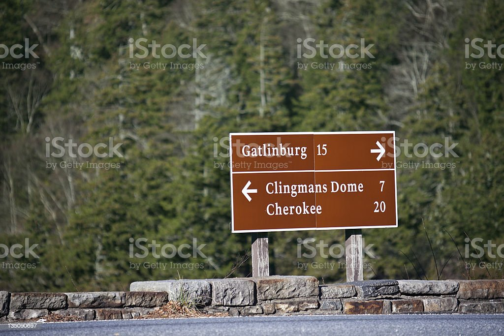 Road sign in Smoky Mountains stock photo