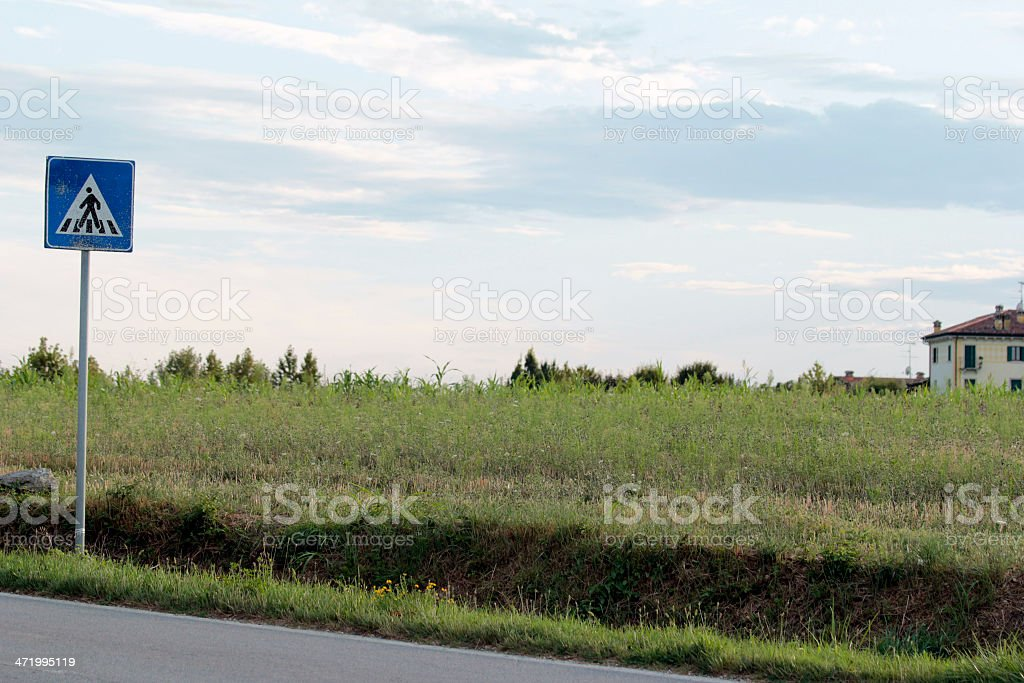 Road sign in the countryside stock photo