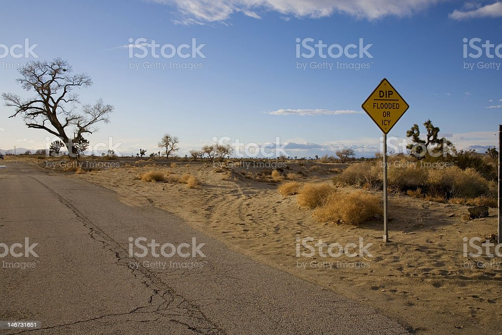 Road sign in the desert royalty-free stock photo