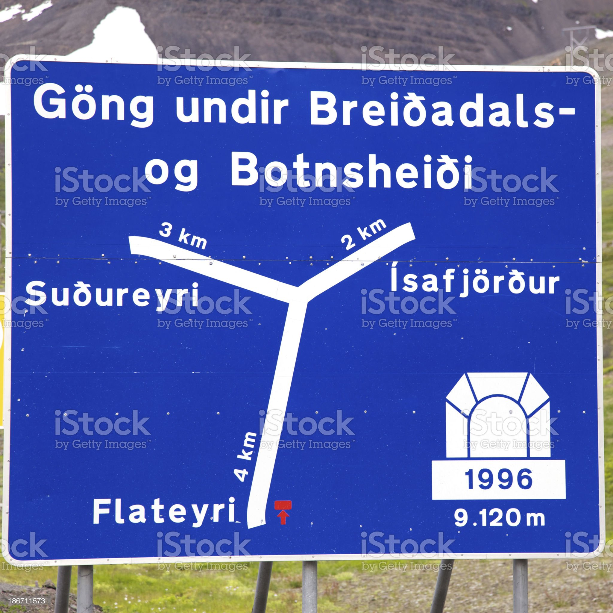 Road sign in the Westfjords. Iceland. royalty-free stock photo