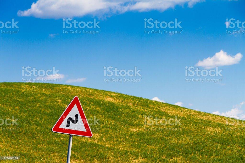Road sign in Tuscany, Italy stock photo