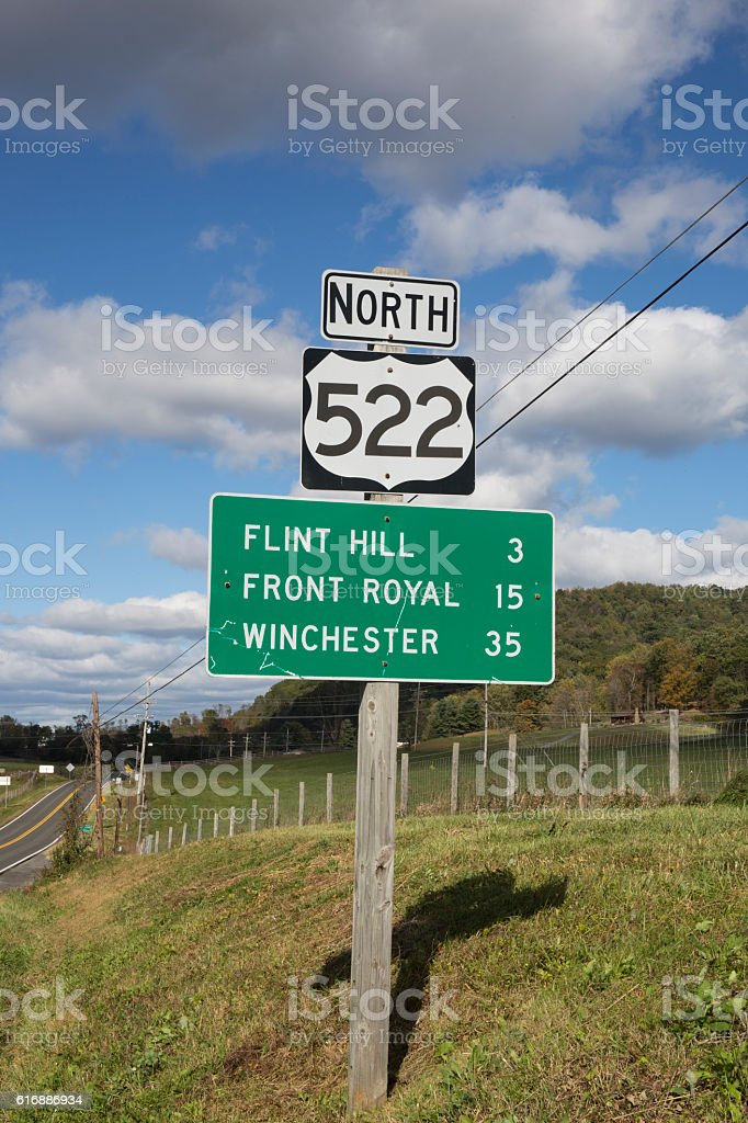Road sign in Virginia in the countryside stock photo