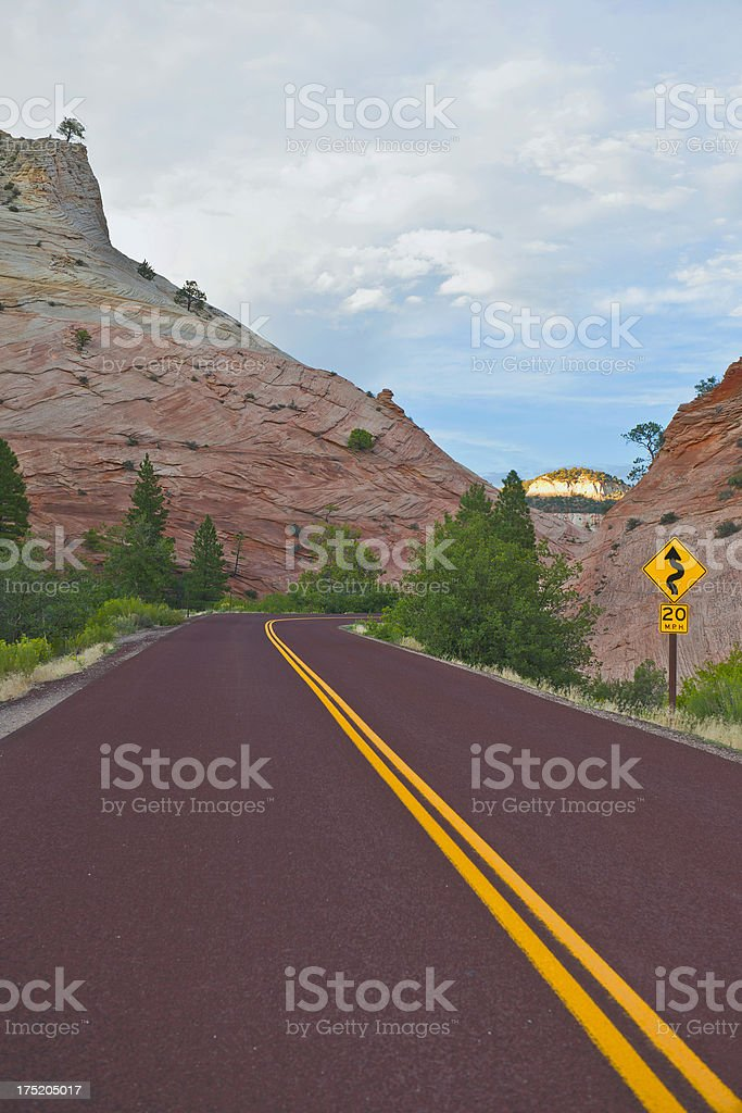 Road Sign in Zion National Park Utah USA royalty-free stock photo