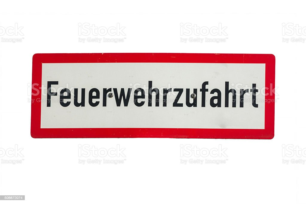 Road sign inscription in German fire engine, stock photo