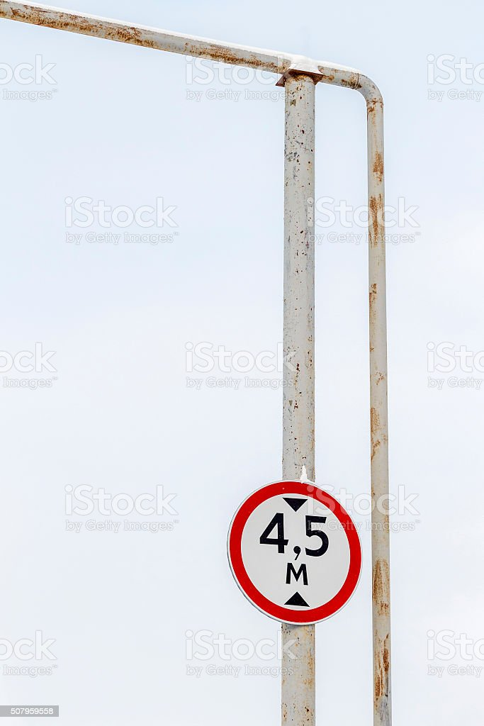 Road sign limitation height stock photo