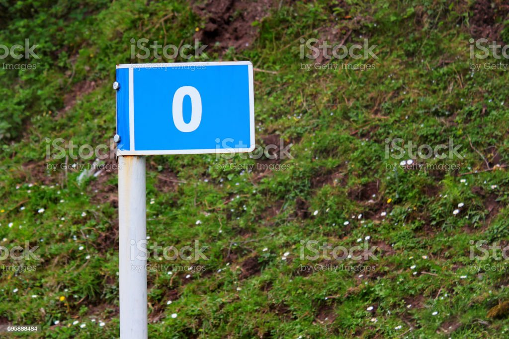 Road sign marking zero miles - start of a route stock photo