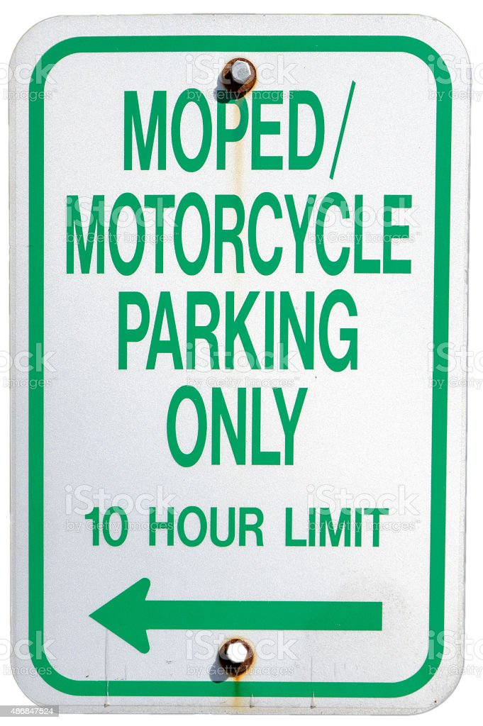 Road Sign: Moped/Motorcycle Parking Only - 10 hour limit stock photo