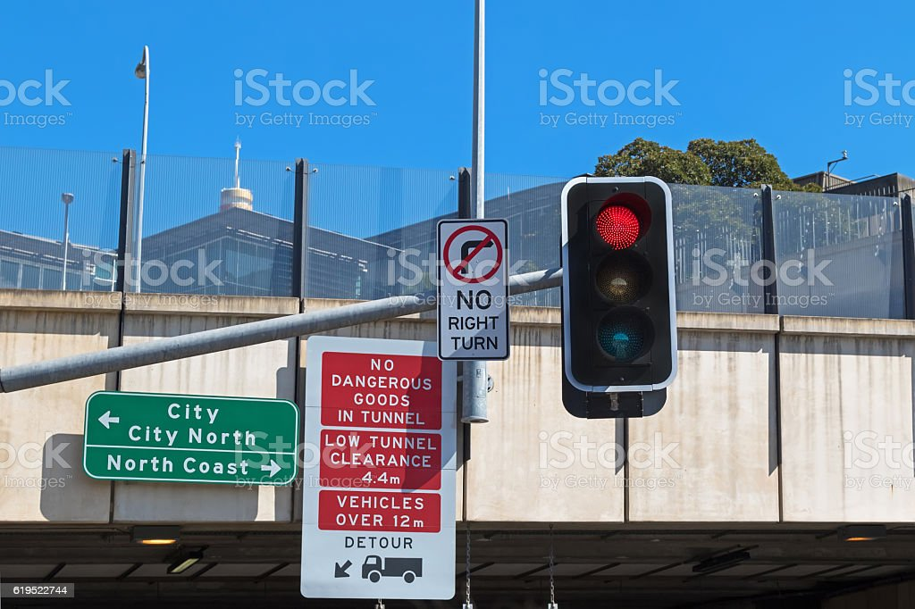 Road sign  No dangerous goods in tunnel, low tunnel clearance stock photo