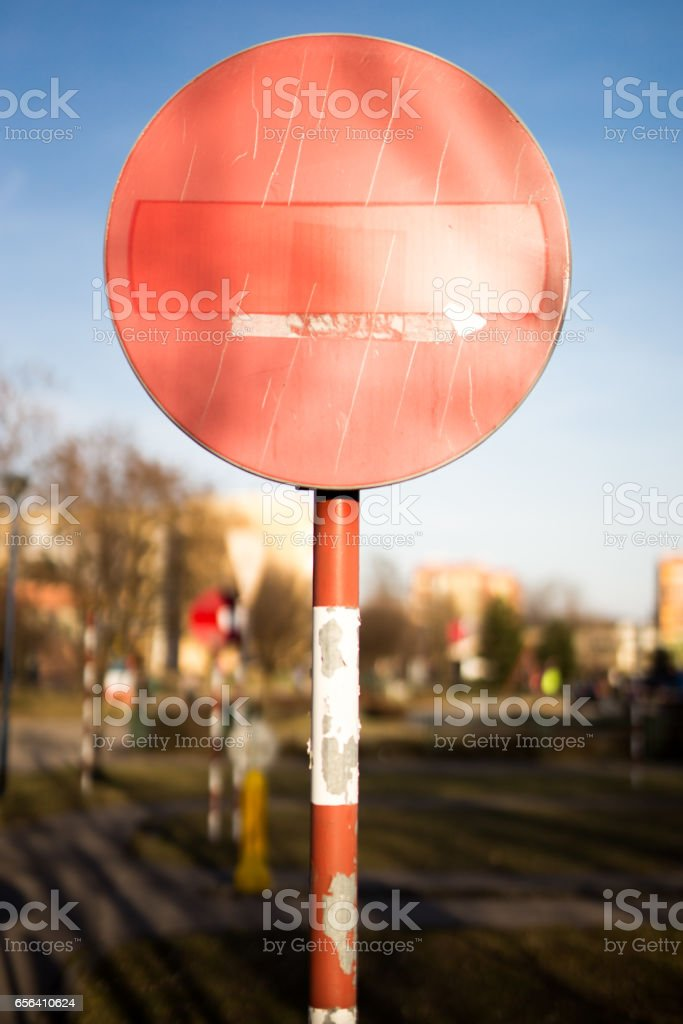 Road sign, No entry stock photo