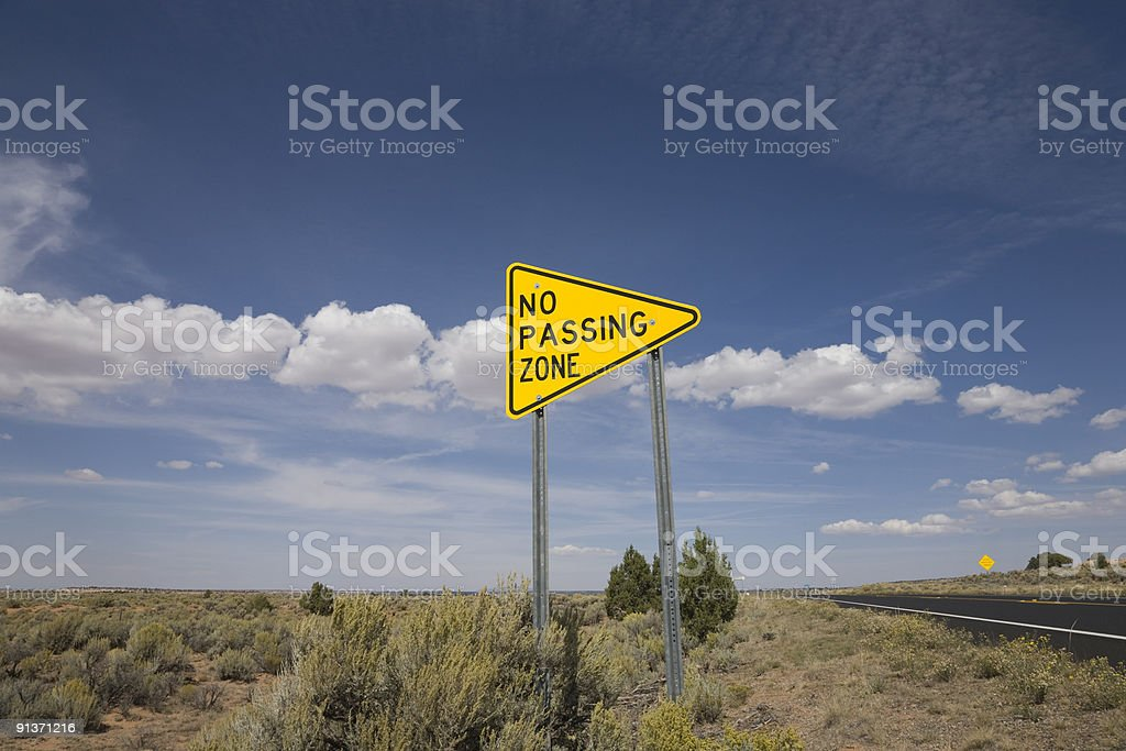 Road sign no passing zone stock photo