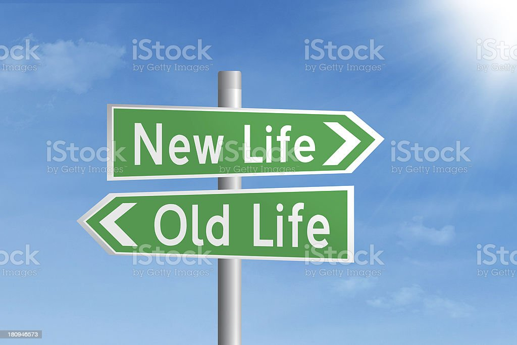 Road sign of new and old life stock photo