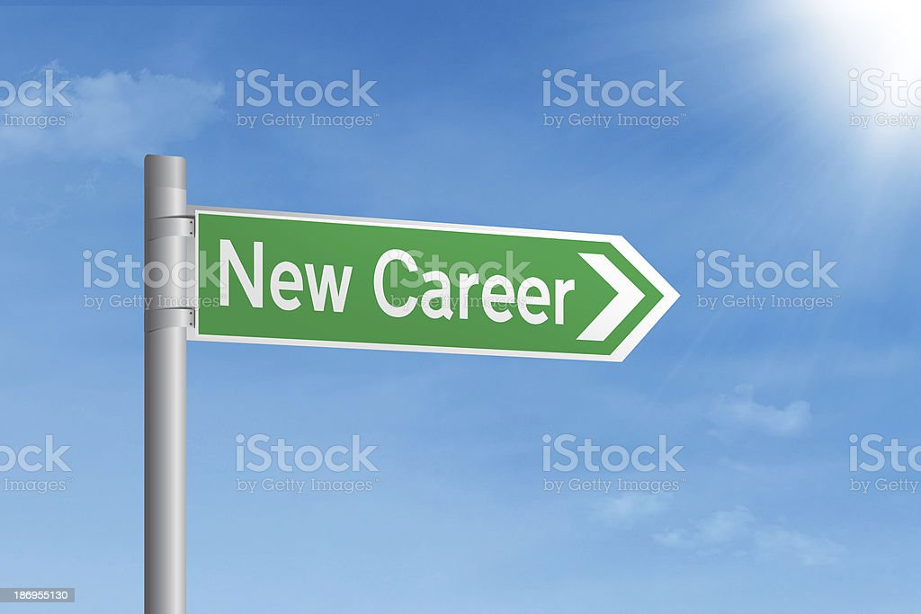 Road sign of new career royalty-free stock photo