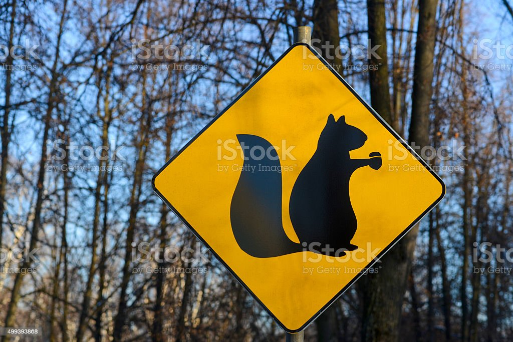 road sign of protein against trees stock photo
