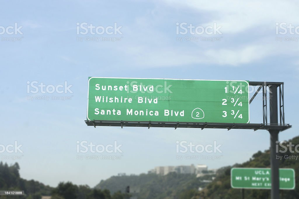 Road sign of Sunset, Wilshire, and Santa Monica exit royalty-free stock photo