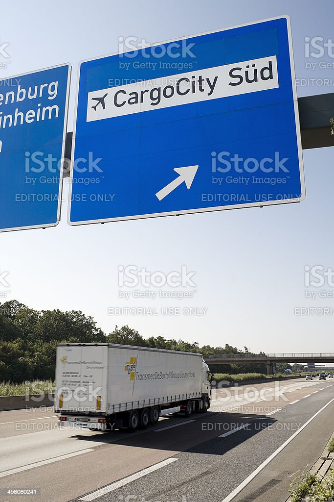 Road sign on german Autobahn A5 direting to Cargocity Sued stock photo