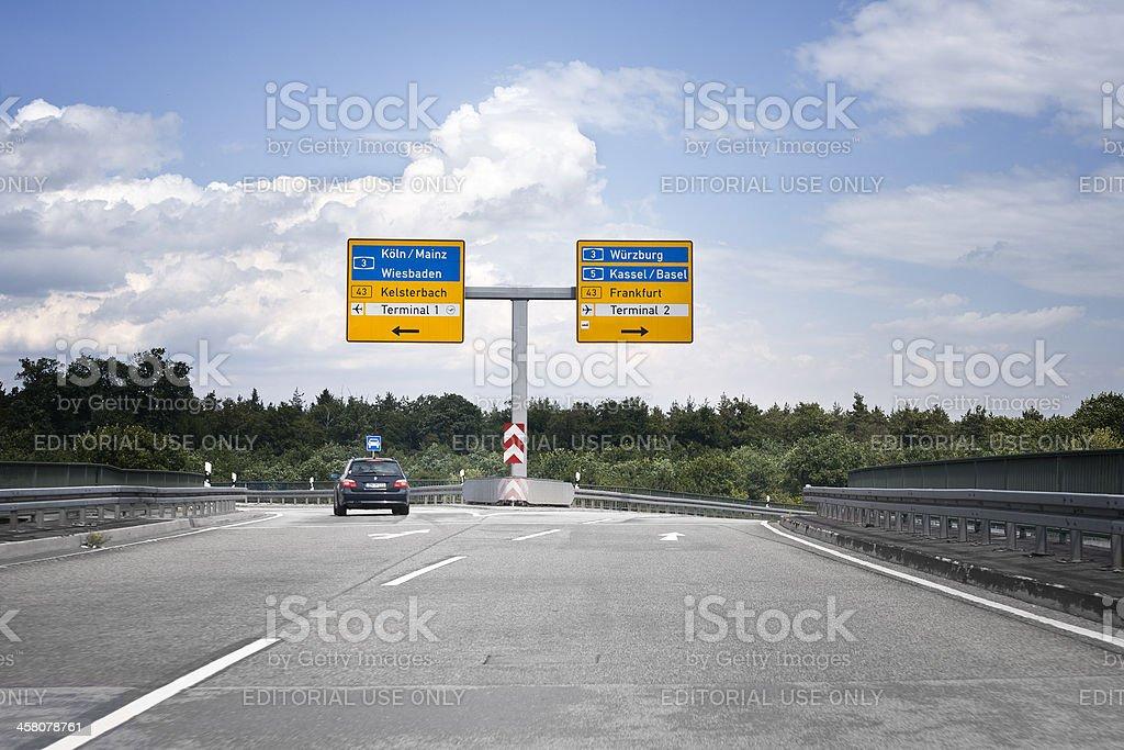 Road sign on german Autobahn, Airport Frankfurt stock photo