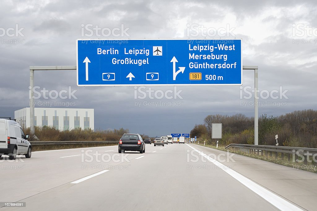 Road sign on german autobahn - next exit Leipzig-West stock photo