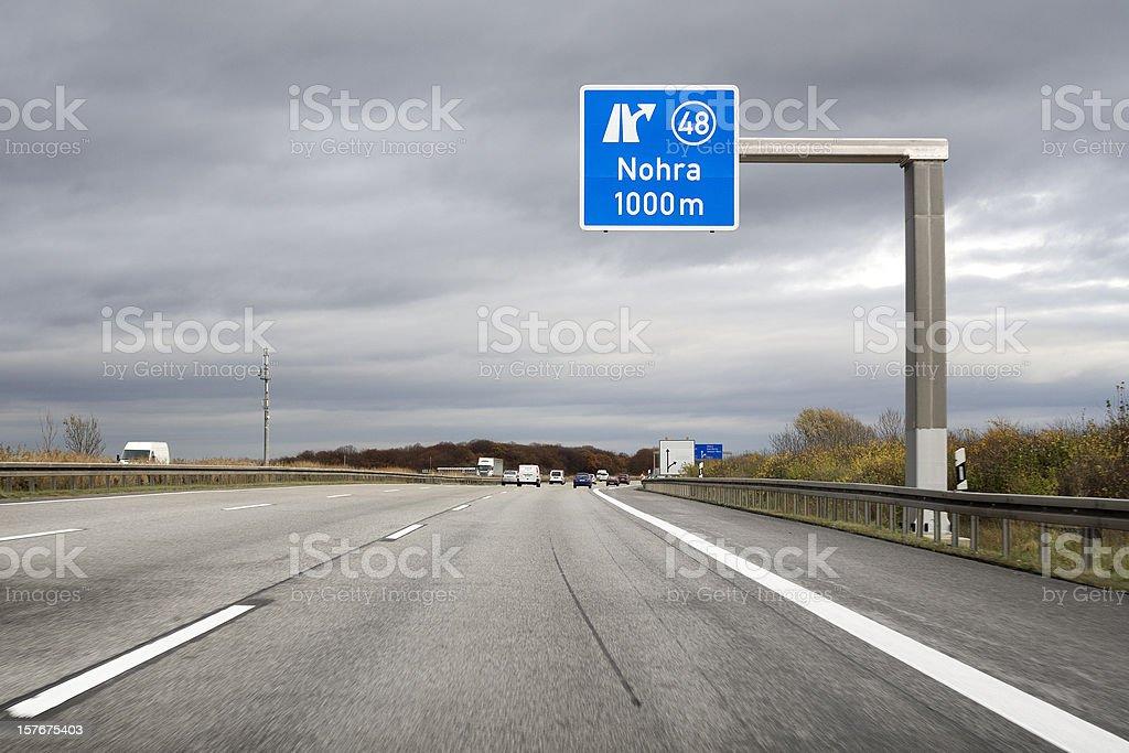 Road sign on german autobahn - next exit Nohra stock photo