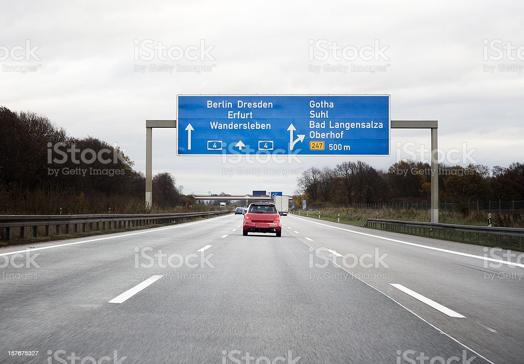 Road sign on german autobahn stock photo