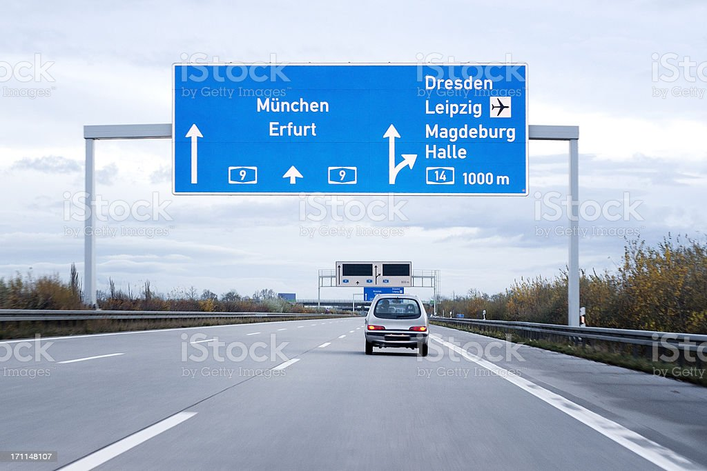 Road sign on german autobahn/motorway stock photo