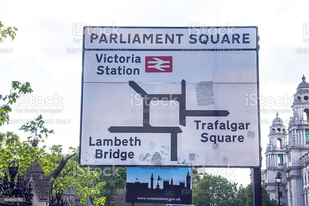 Road sign on Parliament Square near Westminster Palace  London stock photo