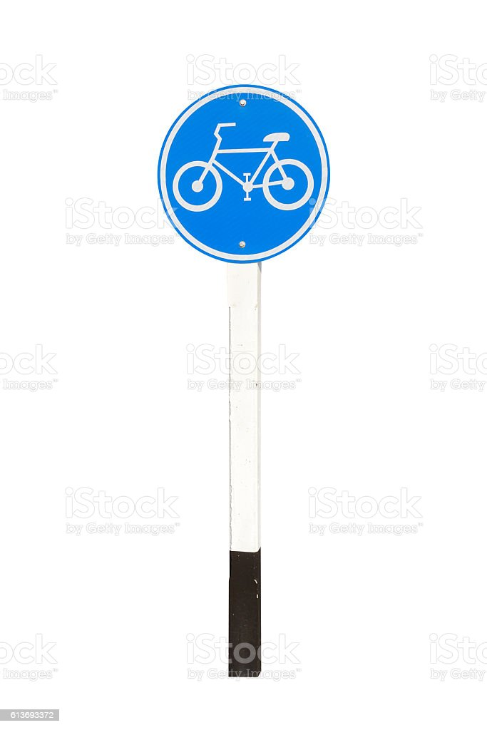 road sign on white background stock photo