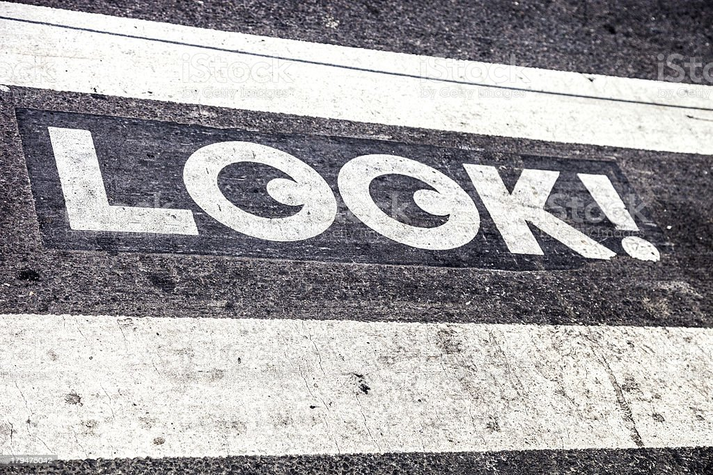 Road sign on zebra crossing royalty-free stock photo