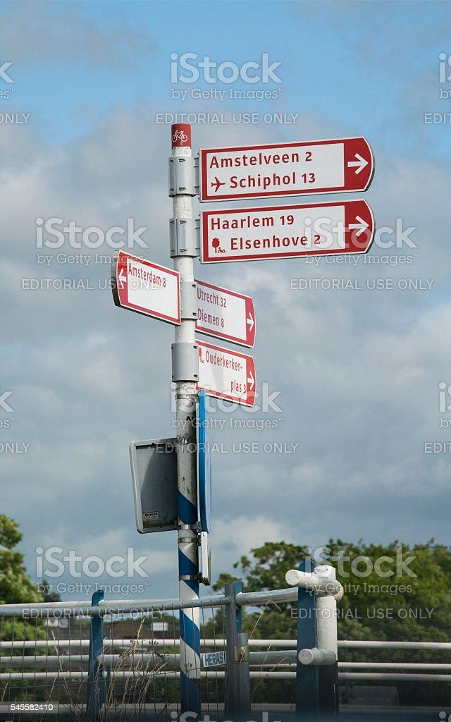 Road sign Ouderkerk aan de Amstel stock photo
