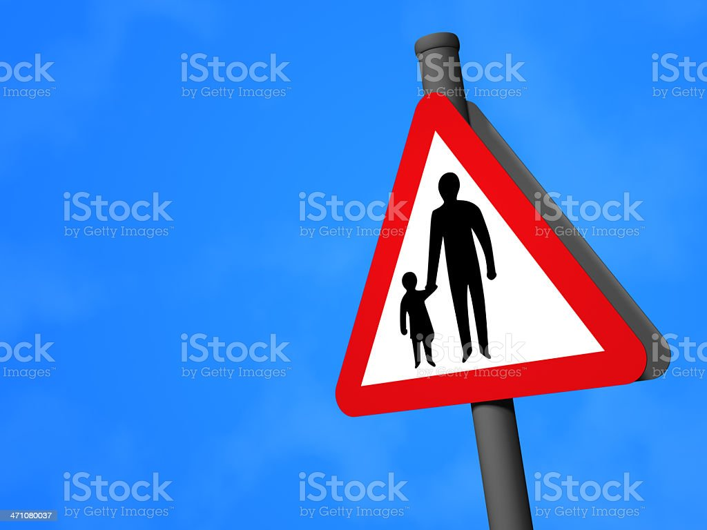 UK Road Sign - Pedestrians Ahead royalty-free stock photo