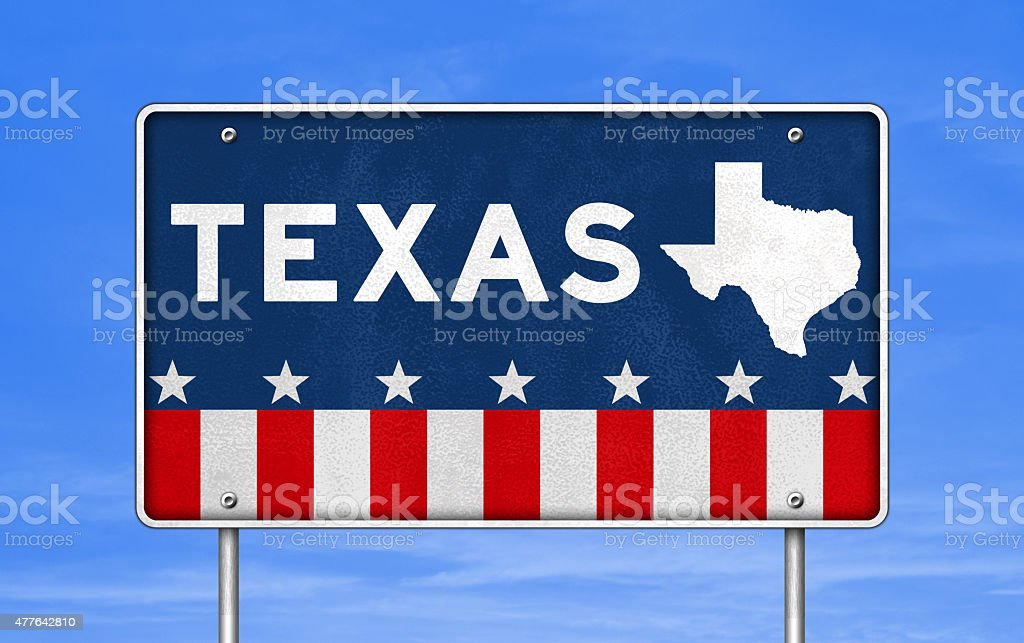 TEXAS - road sign stock photo