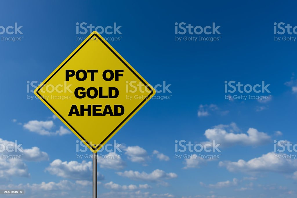 Road sign : 'Pot of Gold' stock photo