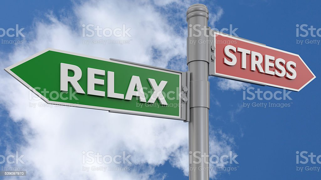 Road sign relax and stress stock photo